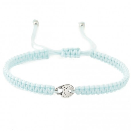 Bracelet with padlock - silver and cord