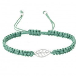 Bracelet with leaf - silver and cord