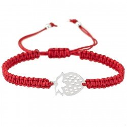 Bracelet with strawberry - silver and cord