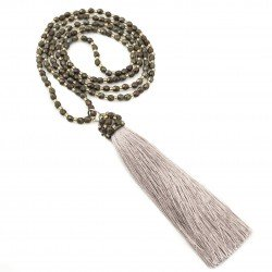 Long necklace with tassel fire polish