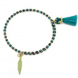 Bracelet with tassel and feather  wrapped in fire polish