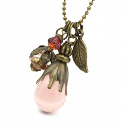 Long necklace with glass rose drop