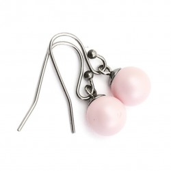 Earrings Swarovski pearls pink surgical steel