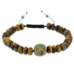 Bracelet unisex XL tiger eye turquoise ethno boho adjustable