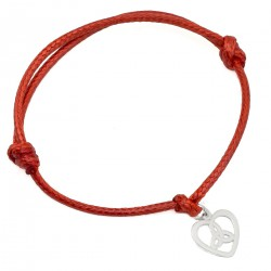 A string bracelet with a heart of 925 silver