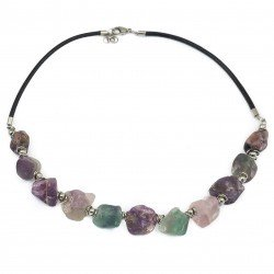 Fluorite necklace, strap and surgical steel