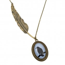 Crow necklace with feather, long
