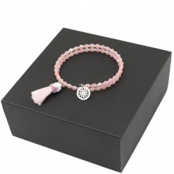 Bracelet with tassel and rosette wrapped in fire polish