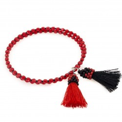 Bracelet with tassels wrapped red and black
