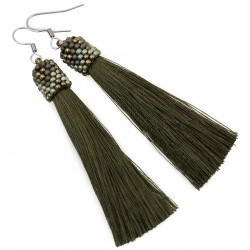 Earrings khaki tassels