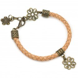 Bracelet leather strap pendant flower adjustable