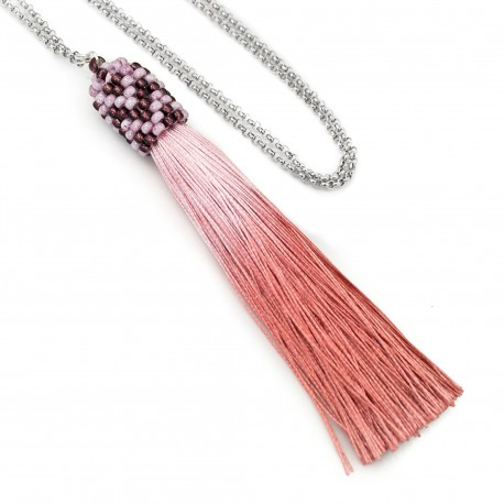 Long necklace with tassel boho etno ombre