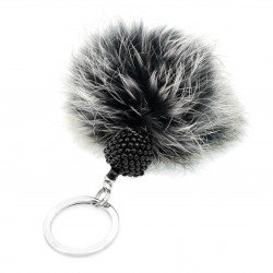 Key ring with pompom and bead ball black gray