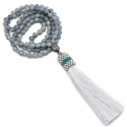 Long necklace Mala with tassel gray Buddha hematite
