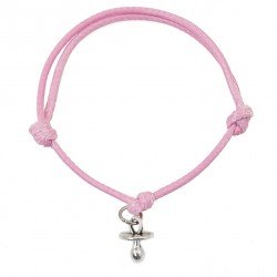 Pacifier bracelet with pink string