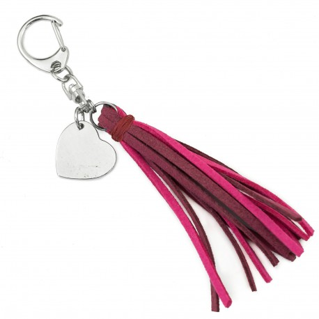key ring with heart and tassel suede