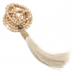 Long necklace Mala with tassel beige Buddha hematite