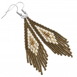 Indian earrings, surgical steel and Toho bronze beige