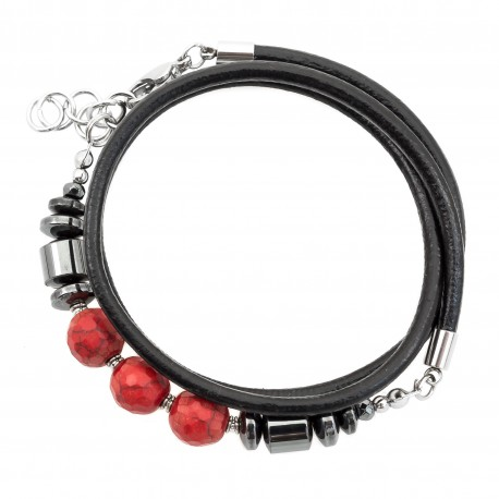 Wrapped bracelet, strap howmit hematite and steel