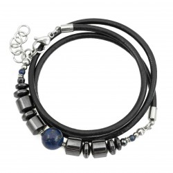 Wrapped bracelet, strap lapis hematite and steel