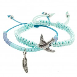 A set of bracelets with a swallow and a feather