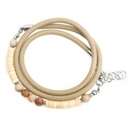 Wrap bracelet, seashell strap, jasper and steel