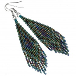 Indian earrings, surgical steel and Toho peacock colors