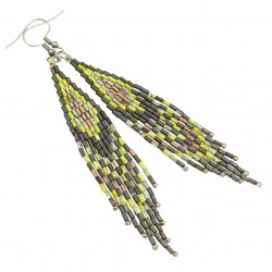 Indian earrings, surgical steel and Toho green