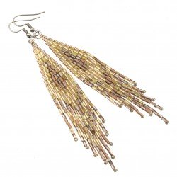 Indian earrings, surgical steel and Toho gold and beige