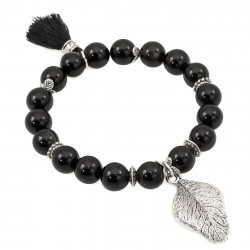 Bracelet with onyx with leaf and tassel