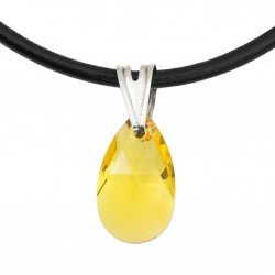 Light Topaz necklace - Swarovski, silver and leather