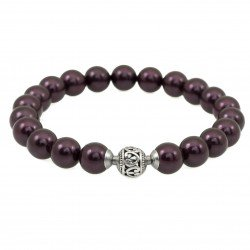 Seashell bracelet plum color elastic