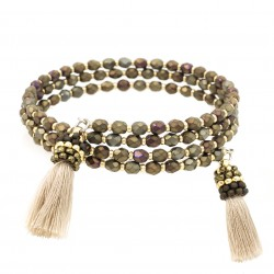 Wrap bracelet with tassels fire polish khaki