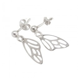 Silver earrings sticks butterfly wings