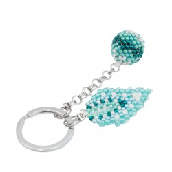Bead keychain, ball beading mint, turquoise