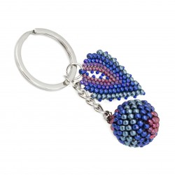 Bead keychain, ball beading blue, purple