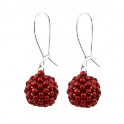 Bead earrings red balls