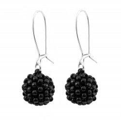 Bead earrings black balls