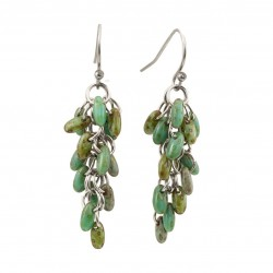 A bunch earrings,  surgical steel, Czech glass green