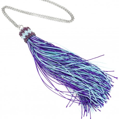 Long necklace with purple and blue tassel