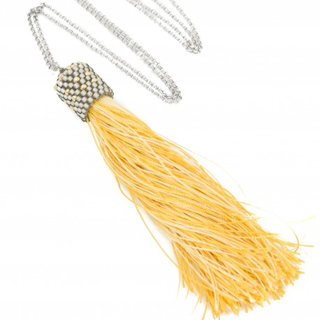 Long necklace with yellow tassel