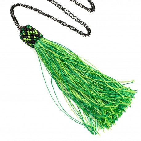 Long necklace with green tassel