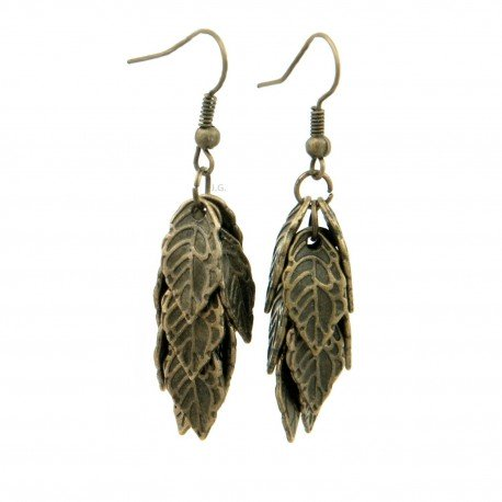 Earrings leaf of a bunch, bunch