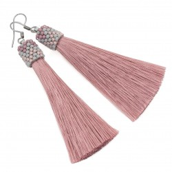 Earrings vintage pink tassel