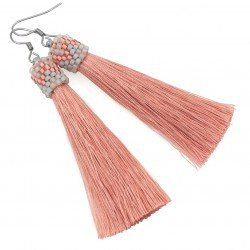 Earrings salmon pink tassel