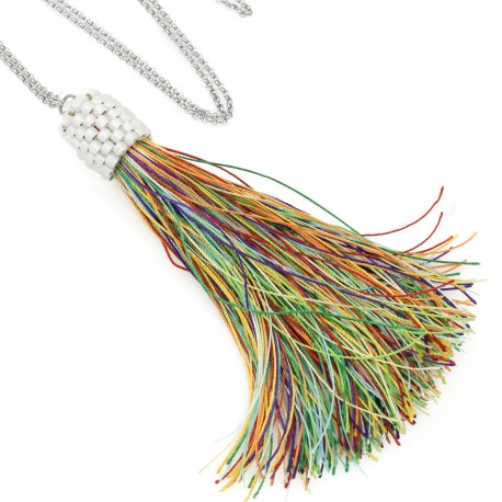 Long necklace with multicolored tassel