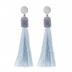 Sticks earrings gray  and blue Tassel