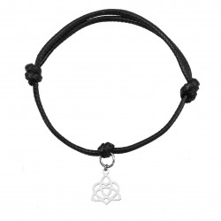 Surgical steel bracelet with lotus flower and string