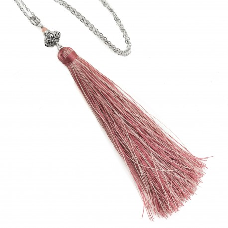 Long necklace with tassel boho pink