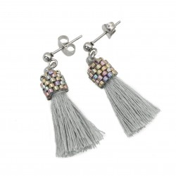 Earrings small tassels gray sticks